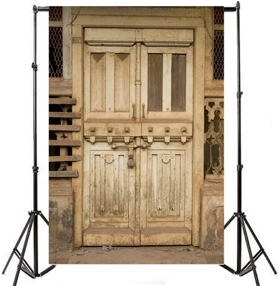 6.5x10ft Wild West Small Town Old Tavern Polyester Photography Background Rustic Faded Old Padlock Wooden Door Backdrop Western Theme Cowboy Portrait Shoot Nostalgia Wallpaper Studio