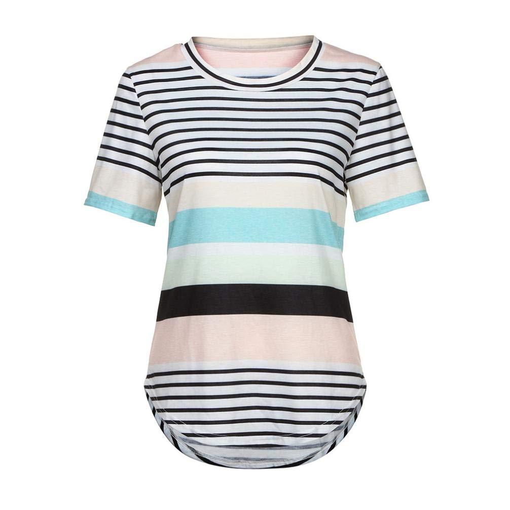 Suppion Women Summer Stripe Top Short Sleeve Blouse Casual Loose Tops T-Shirt