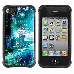 A-type Arte & diseño Anti-Slip Shockproof TPU Fundas Cover Cubre Case para Apple iPhone 4 / 4S ( Dark Sci Fi City Photo )