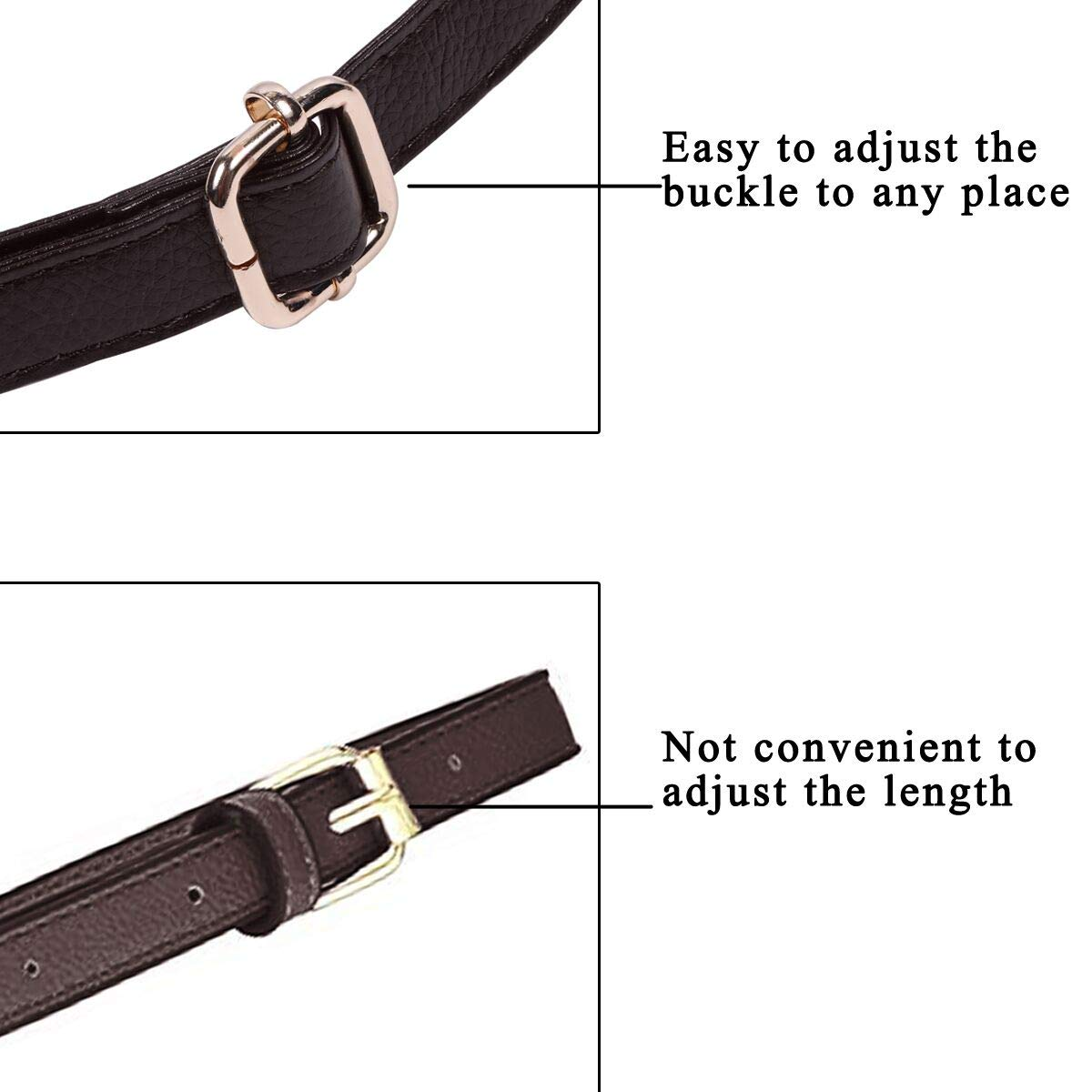 by Beaulegan Dark Brown with Silver Clasp 34-59 Inch Long 0.8 Inch Wide Beaulegan Purse Strap Replacement Microfiber Leather Adjustable for Crossbody Bag or Handbag