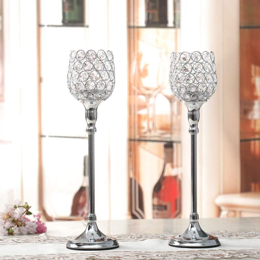 2pcs 38cm Tall Table Decorations Centerpiece Crystal VINCIGANT Tea Light Candle Holders for Tables Gold
