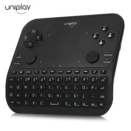 Uniplay - Mando inalámbrico para teclado con touchpad y ratón, teclado inalámbrico para auriculares,