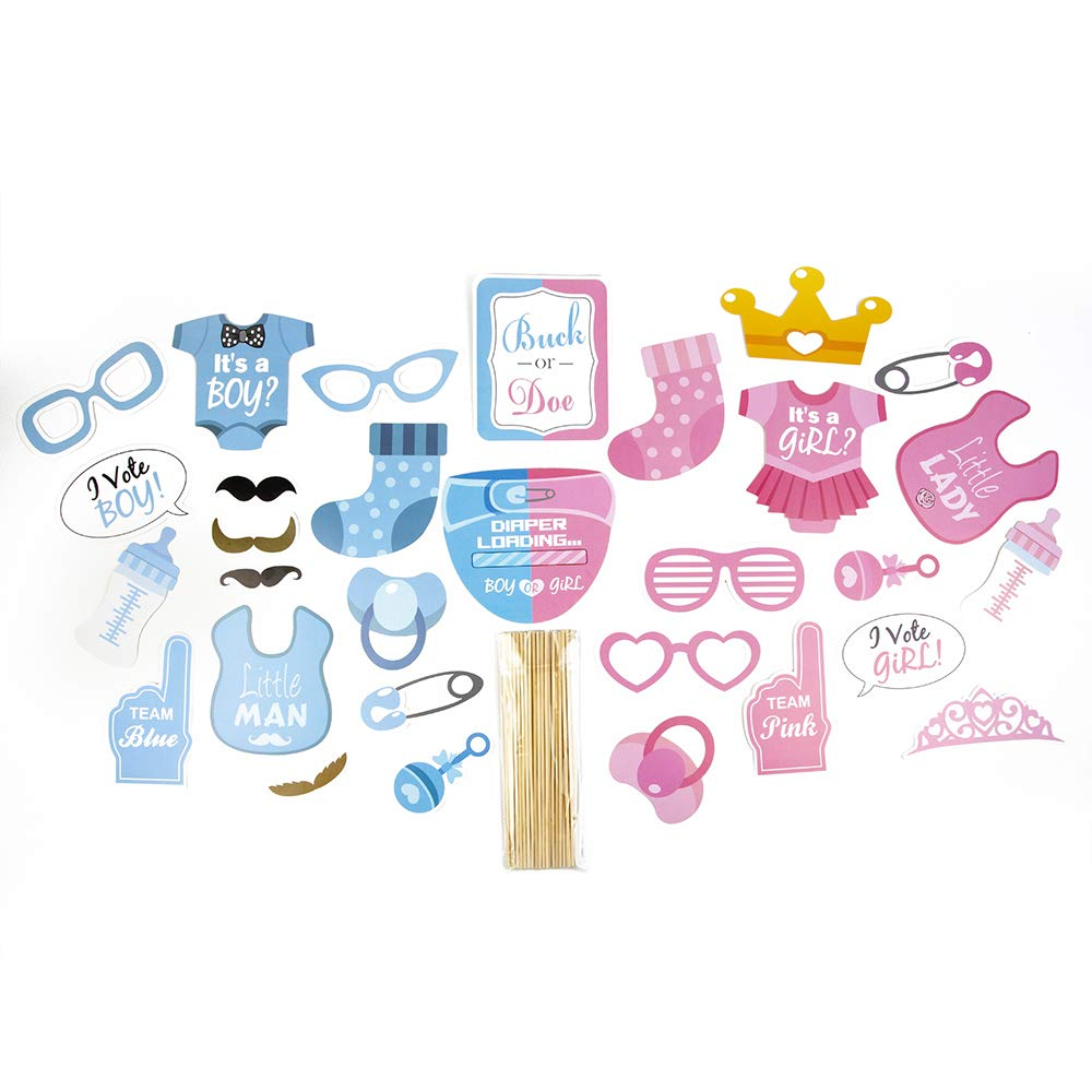 Gender Reveal Party Supplies (75 Pieces) with Photo Props, 36 Inch Reveal Balloon and Sash - Premium Baby Shower Decorations Set - Confetti Balloons, Boy or Girl Banner, Paper Lanterns and Pom Poms by FutureSquared (Image #2)