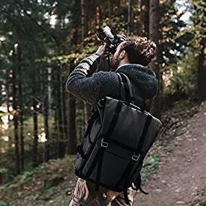 "BAGSMART Camera Backpack for SLR/DSLR Cameras & 15"" Laptop with Waterproof Rain Cover & Tripod Holder, Black"