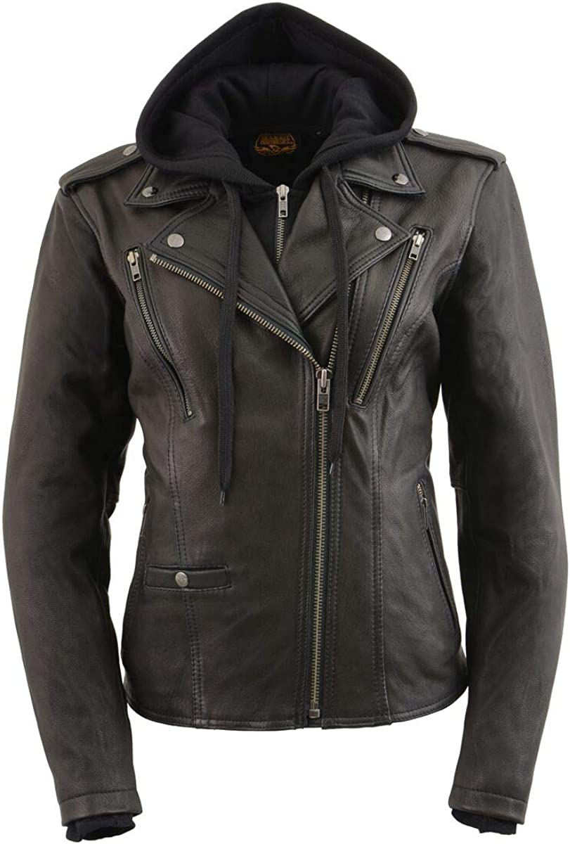 Milwaukee Leather MLL2527 Womens Laced Detail Distressed Brown Leather Jacket Medium