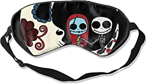 JINUNNU Mulberry Silk Sleep Mask and Blindfold Jack and Sally On Sugar Skull Moon Comfortable and Super Smooth Eye Mask with Adjustable Strap