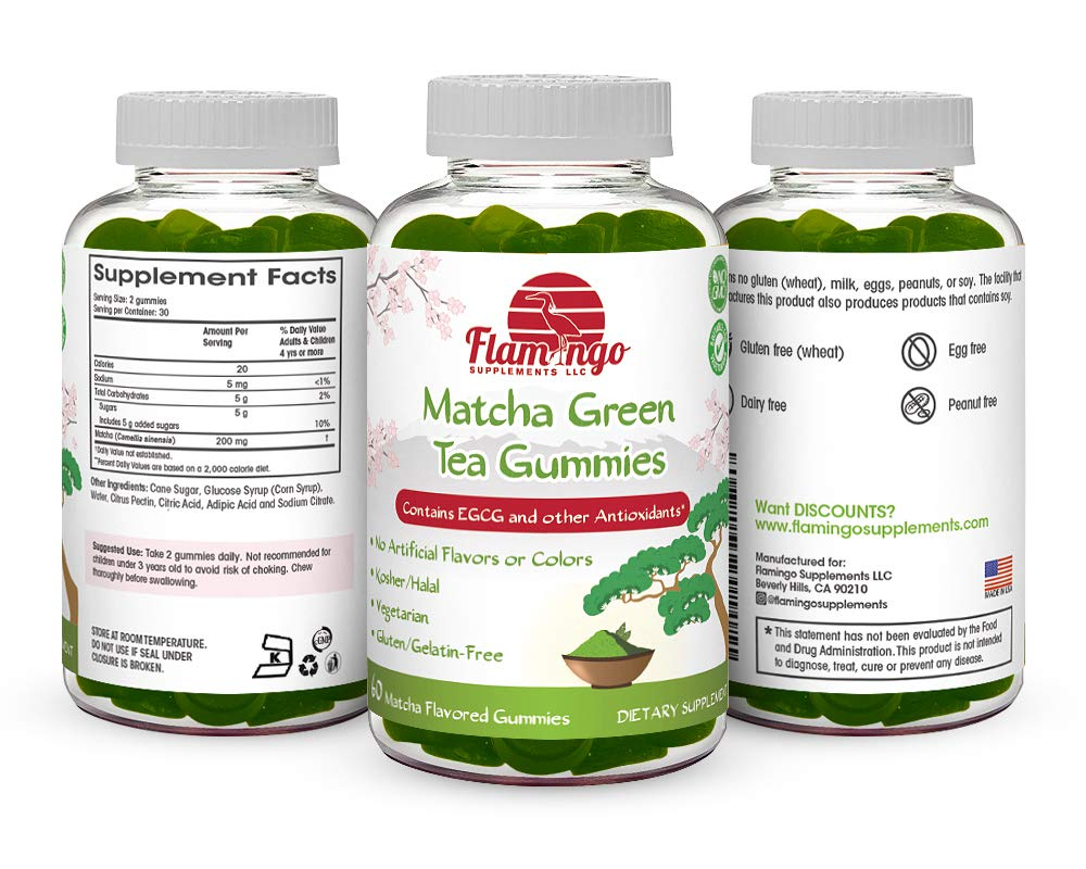 Flamingo Supplements - Matcha Green Tea Extract Gummy Vitamin with EGCG. Increase Focus, Metabolsim Booster, Weight Loss & Fat Burner. Vegan Friendly, Gluten-Free, Non-GMO, Kosher and Halal. 60 ct by Flamingo Supplements