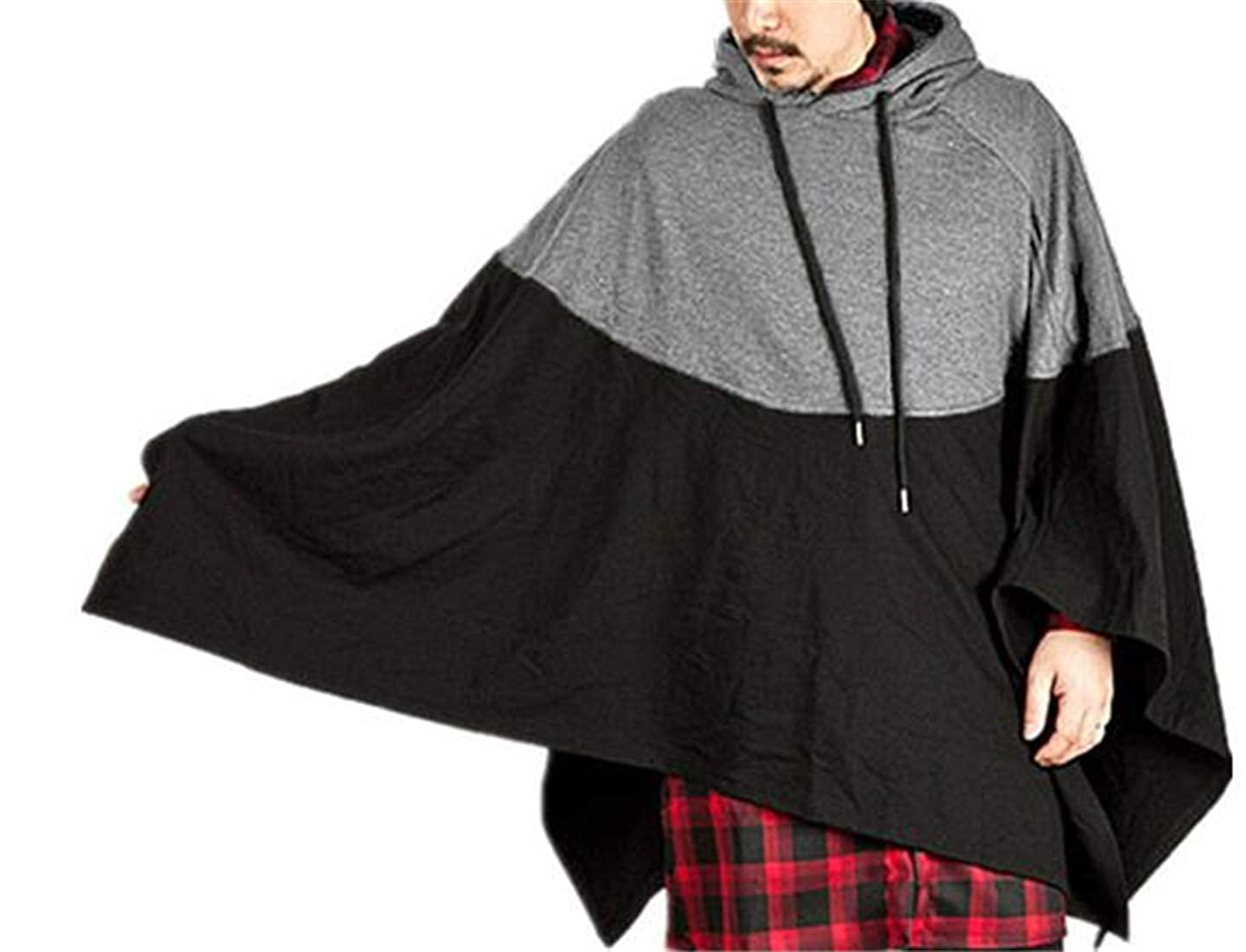 Nanquan Men Contrast Phocho Cape Batwing Sleeves Hooded Oversized Sweatshirt