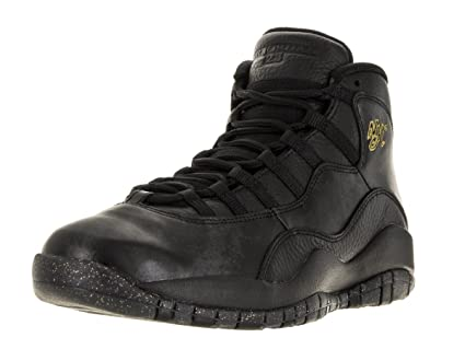 separation shoes 74b85 2ae21 Image Unavailable. Image not available for. Color  Jordan Mens Retro 10 NYC  Basketball Shoes Black Dark Grey Metallic Gold