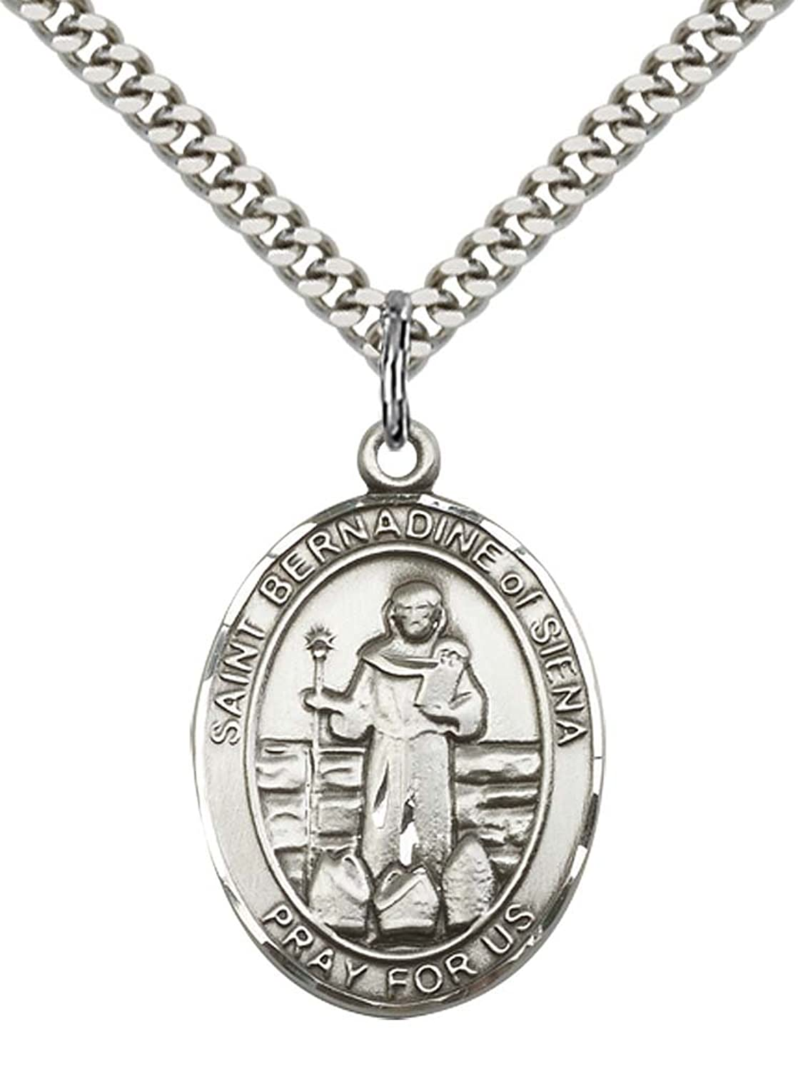 "Sterling Silver St. Bernadine Of Sienna Pendant with 24"" Stainless Steel Heavy Curb Chain. Patron Saint of Advertising/Lung Problems"
