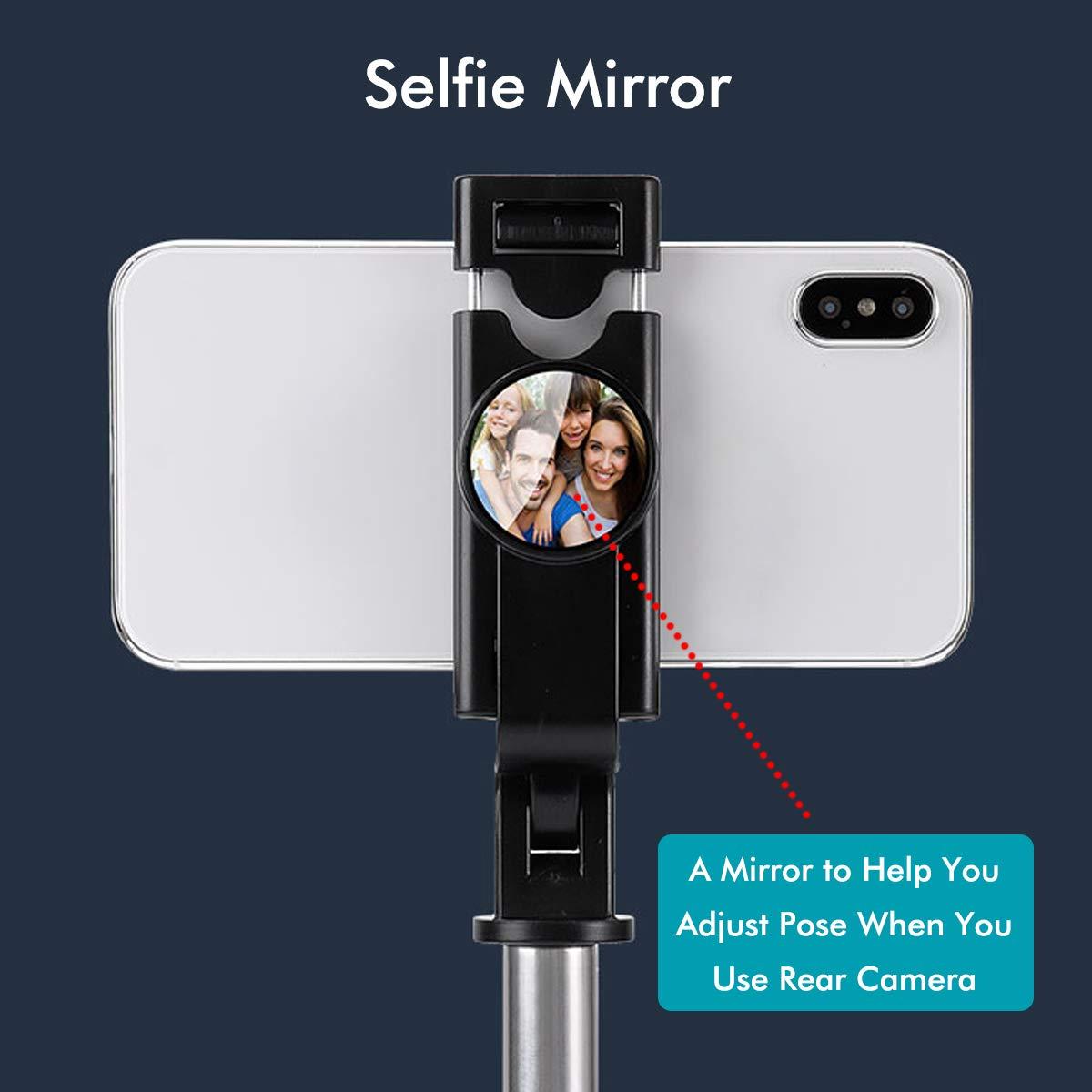 LATEC Selfie Stick Stativ, Erweiterbarer Bluetooth Selfie Stange Stab 360°Rotation mit kabelloser Fernbedienung und Stativständer Selfiestick für iPhone Samsung Huawei Xiaomi LG HTC 3,5-6 Zoll Handy