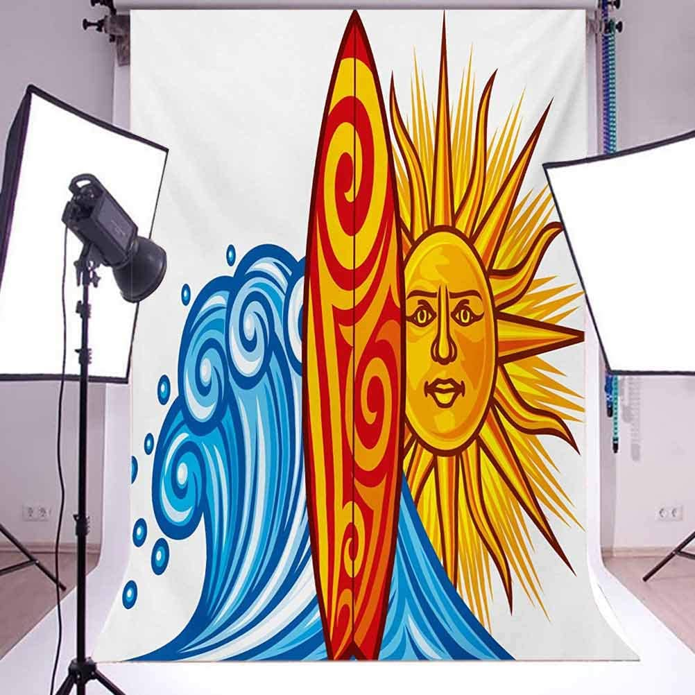 Ride The Wave 10x15 FT Photo Backdrops,Ocean Wave with Sun and Surfboard Lifestyle Summer Freedom Image Background for Child Baby Shower Photo Vinyl Studio Prop Photobooth Photoshoot