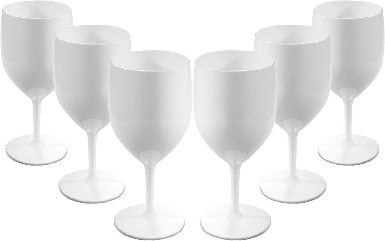 Virtually Glass Juego de Copas de Vino Blancas de plástico de policarbonato irrompible y Reutilizable (300 ml a Borde de 18.8 cm de Altura, diámetro máximo de 8.1 cm) Item Name (aka