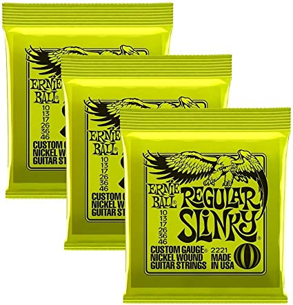 Free 10s /& Ernie Ball 3221 Electric Guitar Strings 10-46 Regular Slinky 3 pack