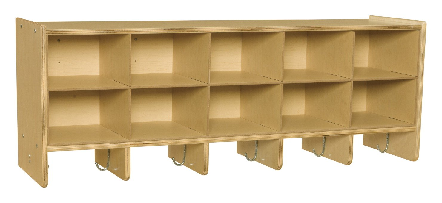 Childcraft 1526403 ABC Furnishings 10-Cubby Wall Coat Locker, 17.75'' Height, 13'' Width, 48'' Length, Natural Wood