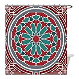 Liguo88 Custom Waterproof Bathroom Shower Curtain Polyester Arabian Decor Collection Elegant Islamic Ethnic Old Style Ornate Persian Pattern with Victorian Touch Artprint Red Grey Teal Decorative bat