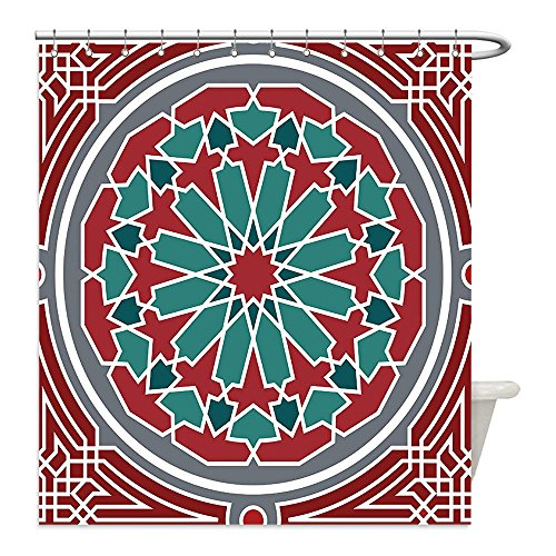Liguo88 Custom Waterproof Bathroom Shower Curtain Polyester Arabian Decor Collection Elegant Islamic Ethnic Old Style Ornate Persian Pattern with Victorian Touch Artprint Red Grey Teal Decorative bat by liguo88