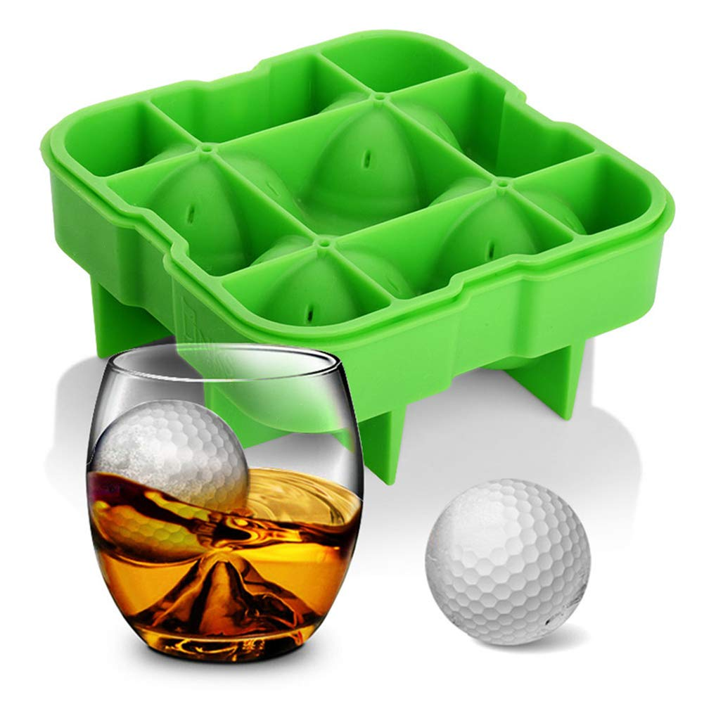 CHAO 2.4 Inches Golf Appearance Ice Mold Tray, Silicone Shell, Reusable, Multi-Function, Sturdy, Suitable for Kitchen, Hotel, Bar, Restaurant by CHAO
