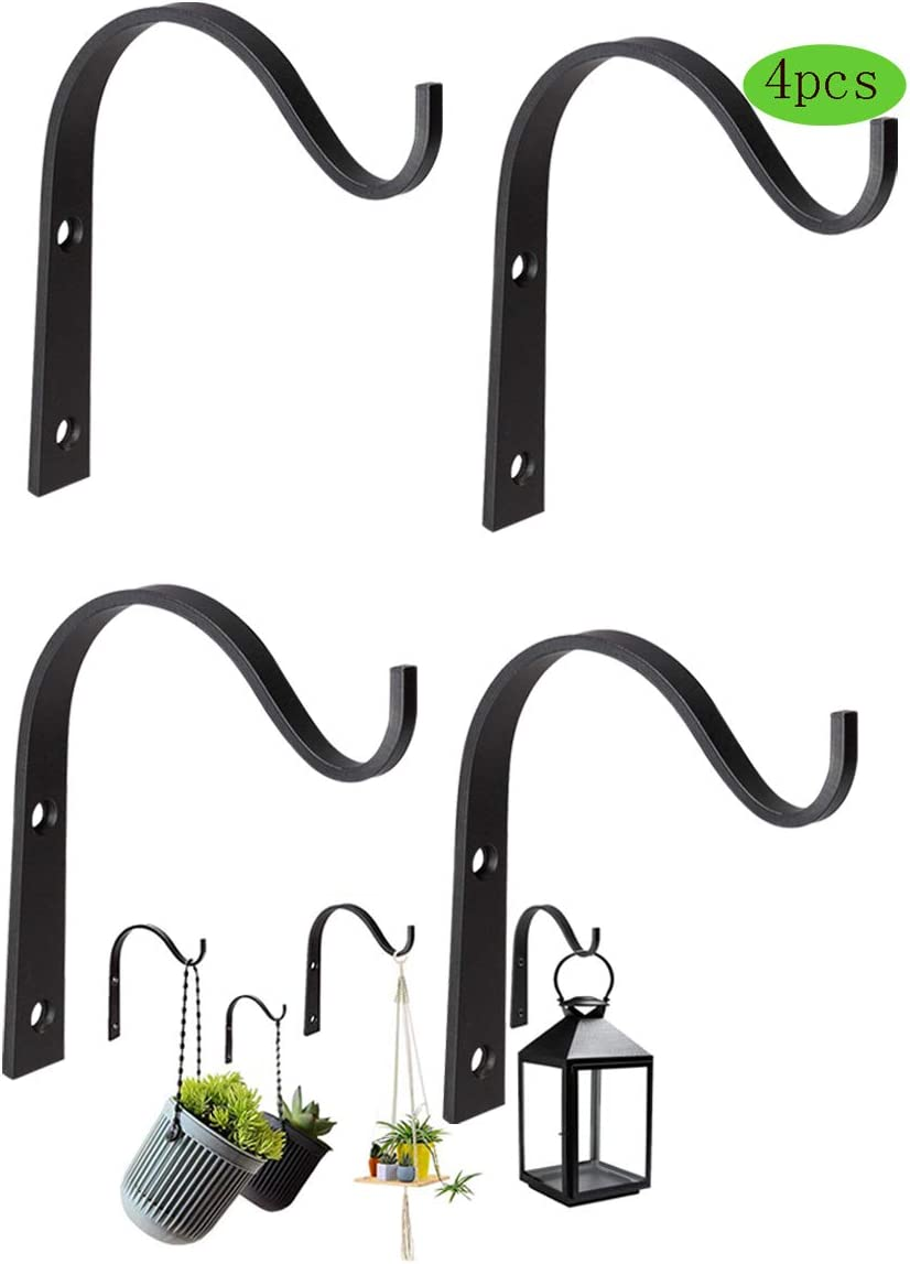 Hanging Wall Bracket 4 Pack Iron Wall Hook Plant Hanger Bracket for Hanging Lanterns,Coats,Jar Sconces,Bird Feeders,Wind Chimes,Indoor/Outdoo,Rustic Home Decor(Iron Wall Hooks for Black 4 Pac)