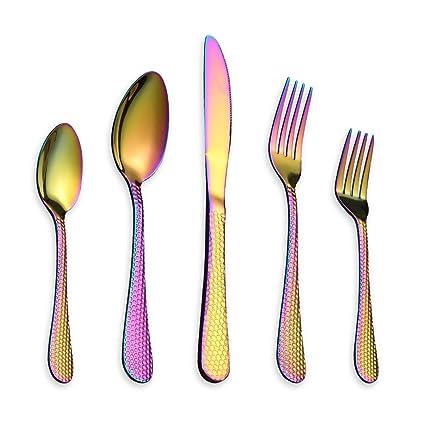 Berglander 30 piezas de titanio arco iris de color plateado acero inoxidable martillo cubertería, colorido juego de cubiertos, servicio para 6 ...