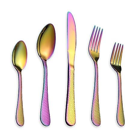 Berglander 30 piezas de titanio arco iris de color plateado acero inoxidable martillo cubertería, colorido