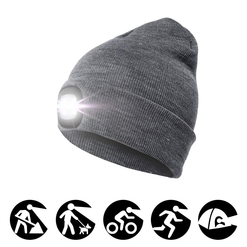 enjoydeal 4LED Knit Hat Rechargeable Hands Free Headlamp Cap for  Hunting af8306e3478