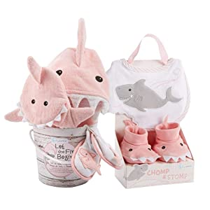 Baby Aspen Shark Baby 7Piece Gift Set Bundle - Girl, Pink