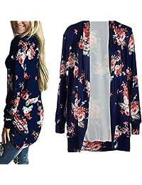 Women Cardigan,Haoricu Womens Open Front Irregular Long Sleeve Cardigans Casual Floral Print Outwear Coat