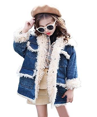 63409f6a12c4 Amazon.com  MaxKids Girls Reversible Denim Sherpa Lined Denim Jacket ...
