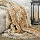 Sumptuous Luxury Faux Fur Throw Blanket - Designer Quality - Fur Accents - Made in America (58''x80'', Platinum French Fox)