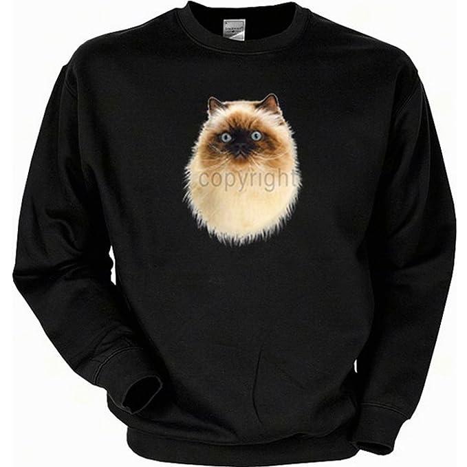 Cooles Sudadera - Gatos Diseño Himalayan - Hombre Sweater Jersey regalo animales Sudadera Invierno Cumpleaños Navidad negro 50: Amazon.es: Ropa y accesorios