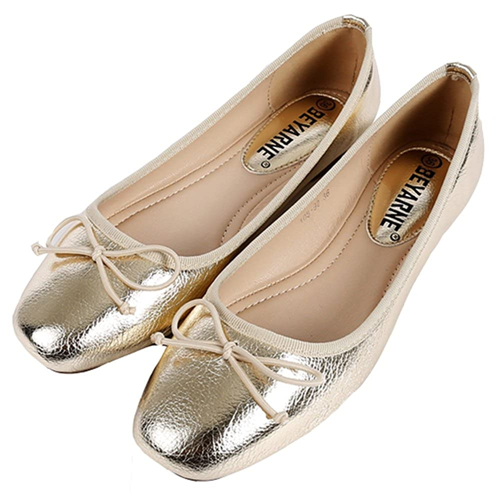 SFNLD Womens Elegant Square Toe Low Cut Bow Slip On Ballet Flats Shoes