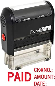 Paid with Check No, Amount, Date - ExcelMark Self Inking Rubber Stamp - A1539
