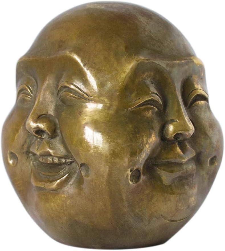 Addune Buddha Head Statue Four Faces Pleasure Anger Sorrow Joy Brass Home Decor Lucky Gift