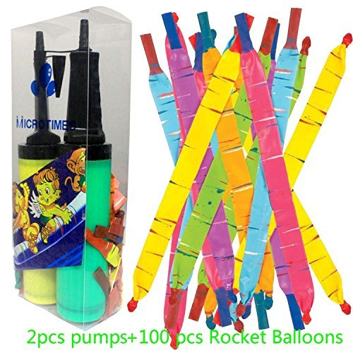 Microtimes 100 Pack Rocket Balloons with 2 Air Pumps flying balloon Giant Rocket Balloons with a whistling noise for Kids -