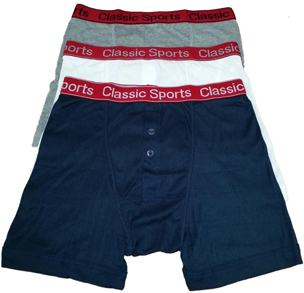 *FANTASTIC VALUE* 3 Pairs of Mens Classic Sports Design RedBand Button Fly Boxer Shorts/Available in Sizes Small/Medium / Large/XLarge