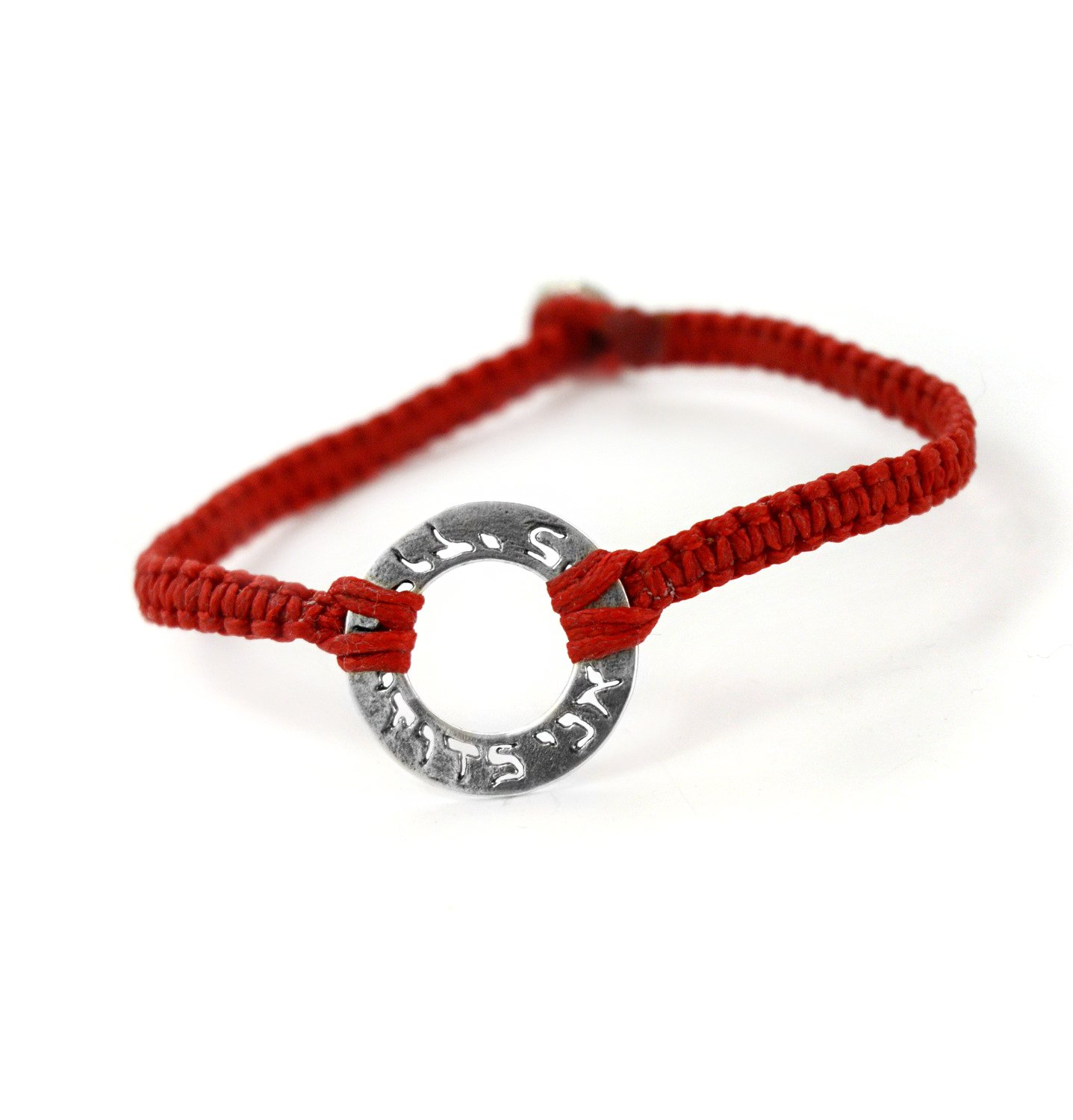 Woven Ani Ledodi Vedodi Li''I Am My Beloved and My Beloved Is Mine'' Silver Charm Red Bracelet for Men