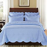 Calla Angel CAQTCTKLB_SGDN Sage Garden Luxury Pure Cotton Quilt,Light Blue,King