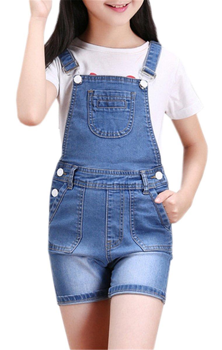 Kids Shortall, Denim Overalls Bib Jumpsuit Jeans Shortalls for Toddler & Little Girls, Light Blue, Tag Size 130 = US 5-6Y/Height 51.2''