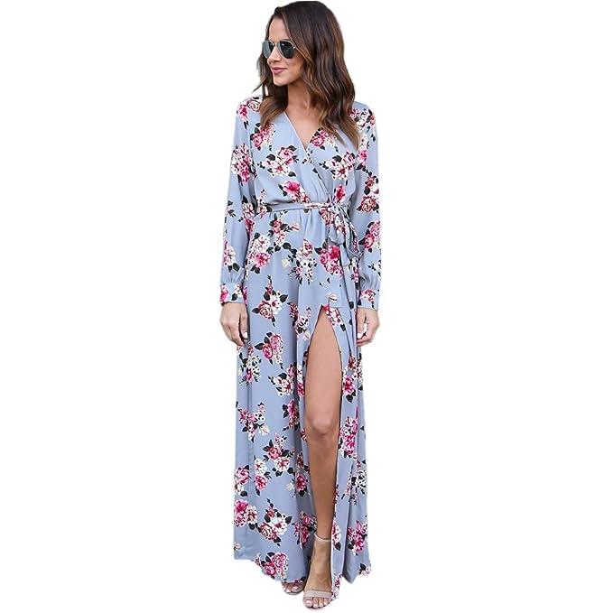 TOOGOO Vestido maxi de flor de impresion sexy de otono primavera de mujer Vestido largo de