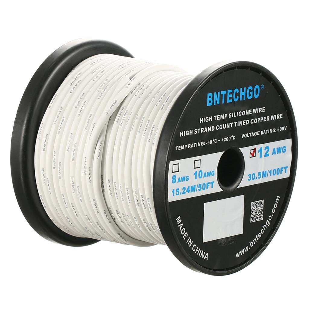 BNTECHGO 12 Gauge Silicone Wire Spool White 100 feet Ultra Flexible High Temp 200 deg C 600V 12 AWG Silicone Rubber Wire 680 Strands of Tinned Copper Wire Stranded Wire for Model Battery Low Impedance