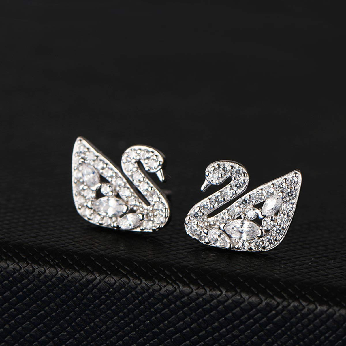 Silver Libaraba Crystal Accent Filigree Bird Swan Stud Earrings with Jewelry Box,Swan Earrings for Women