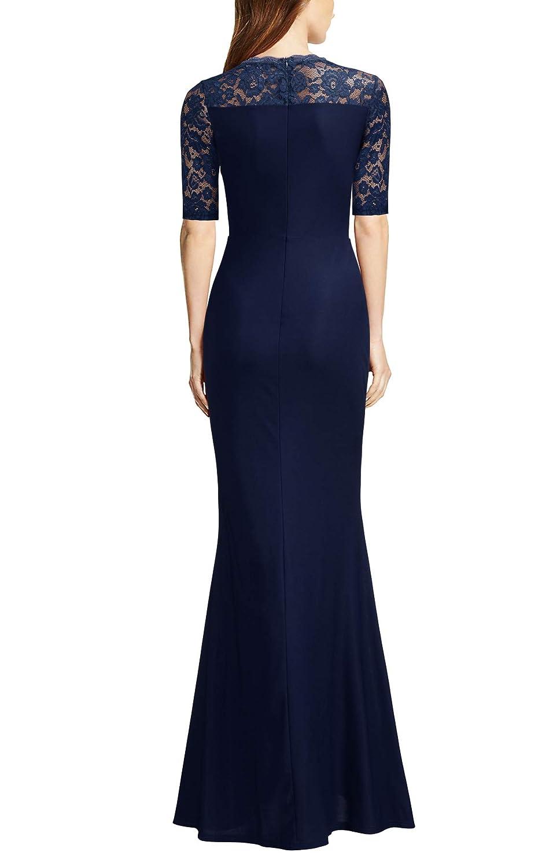 FORTRIC Women Floral Lace Split Elegant Prom Formal Party Long Evening Dresses FORT614