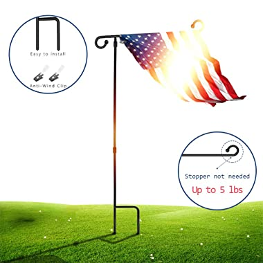 SSRIVER Garden Flag Stand Pole Holder with Anti-Wind Clip 35.5  H x 17.5  W for Premium Metal Wrought Iron Powder Coated Weather-Proof Paint Steel (Black FlagPole- 1)