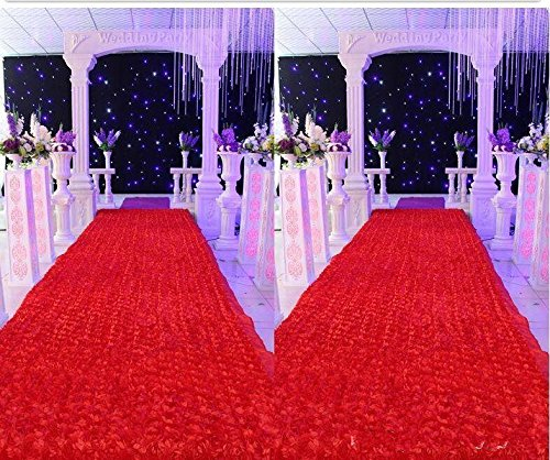 [Muzata Area Rugs Wedding Decoration 3D Rose Aisle Carpet Runner Tablecloth Red 6.6Ft Long 3.6Ft] (Making Elf Costume)