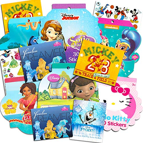 Stickers for Girls Toddlers Kids Ultimate Set ~ Bundle Includes 11 Sticker Packs with Over 2000 Stickers Featuring Disney Frozen, Minnie Mouse, Hello Kitty, and More (Girl Stickers,Party Favors)