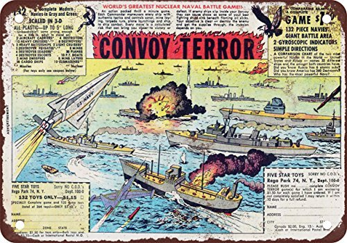 Tin Tractor Toy - 1962 Convoy of Terror Toy Soldiers Vintage Look Reproduction Metal Tin Sign 8X12 Inches