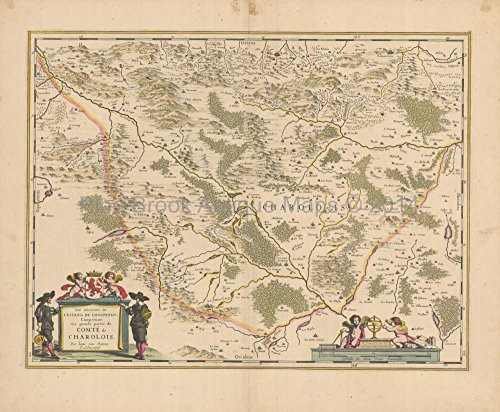 Montchanin Le Creusot France Antique Map Blaeu 1640 Original French Country Home Decor (Blaeu Antique Map)