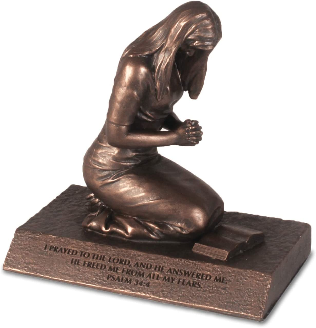 Lighthouse Christian Products Praying Woman Seeking God Bronzelike Finish 4.5 x 2.75 Cast Stone Mounted Sculpture