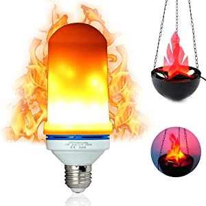 LED Flame Effect Light Bulb E26 Medium Base 3 Modes with Fire Flickering Simulation Flicker Light Bulbs for Home/Bar/Hotel/Festival Decoration